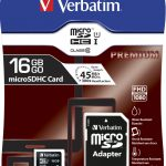 Verbatim Micro SDXC Card 16Gb Class 10 incl. adapter