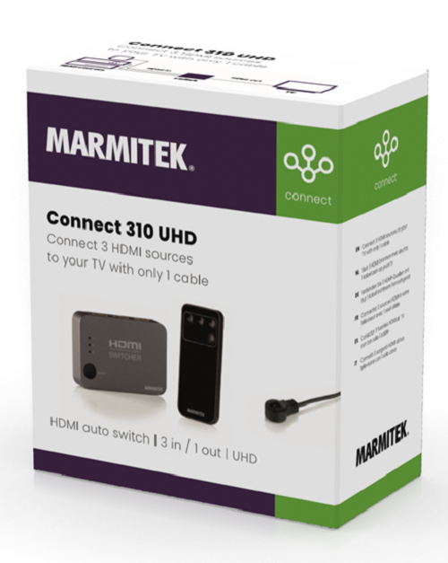 Marmitek Connect 310 UHD - HDMI Switcher 3 in /1 uit, Ultra HD (4K)