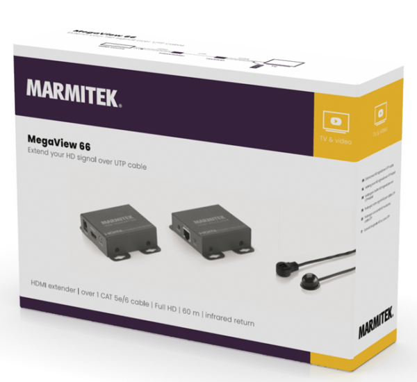 Marmitek MegaView 66 - HDMI + IR Retour over 1 CAT5e kabel, tot 60m, Full HD