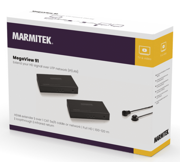 Marmitek MegaView 91- HDMI over 1 CAT5e kabel of netwerk (IP/LAN), tot 100m, Full HD, IR retourkanaal