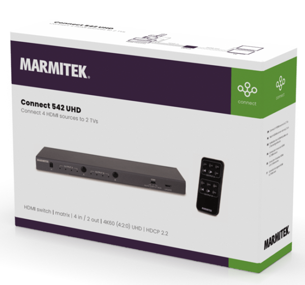 Marmitek Connect 542 UHD HDMI switch   matrix   4 in / 2 out   4K60 (4:2:0) UHD   HDCP 2.2
